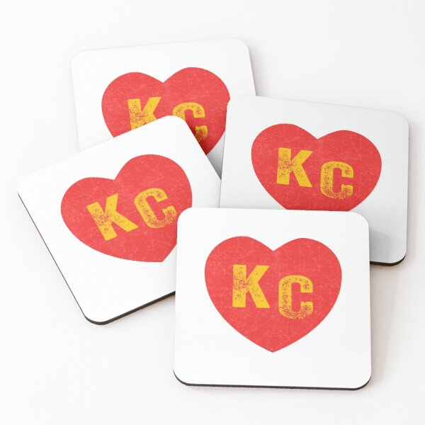 KC Heart Kansas City Hearts I love Kc heart monogram KC Face mask Kansas City facemask Coasters (Set of 4)