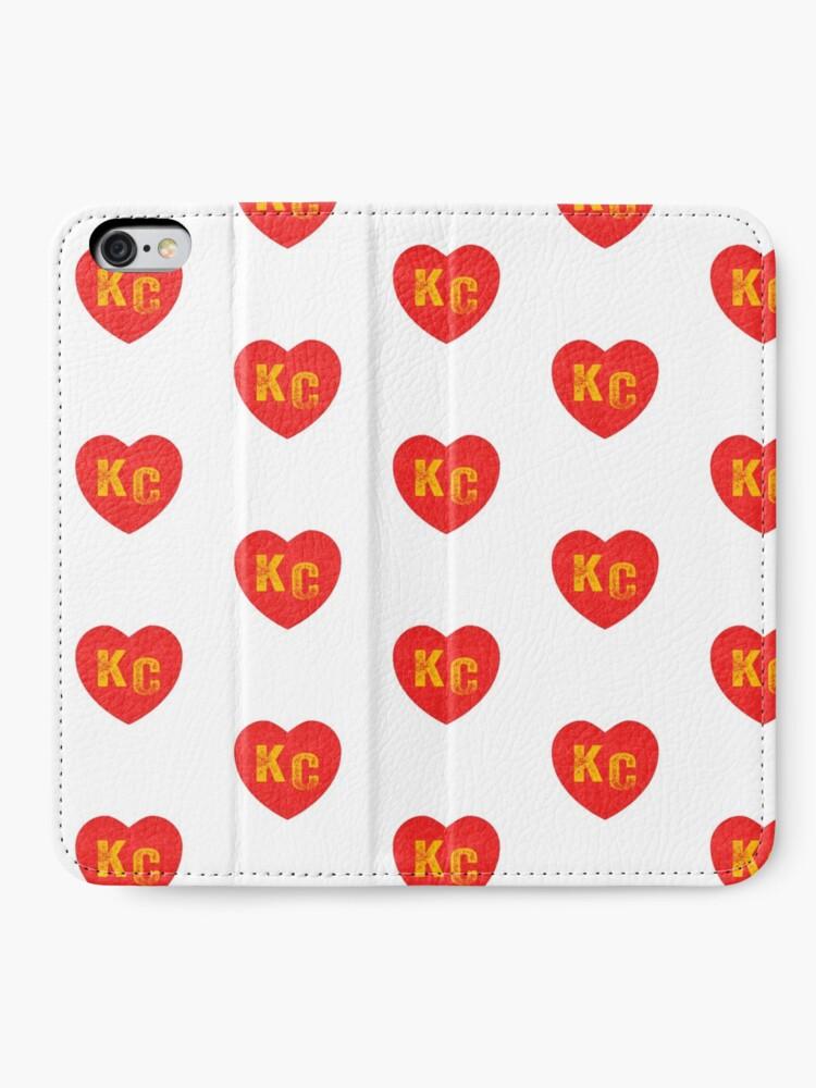 Alternate view of KC Heart Kansas City Hearts I love Kc heart monogram KC Face mask Kansas City facemask iPhone Wallet