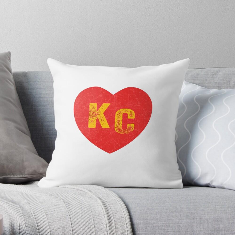 KC Heart Kansas City Hearts I love Kc heart monogram KC Face mask Kansas City facemask Throw Pillow