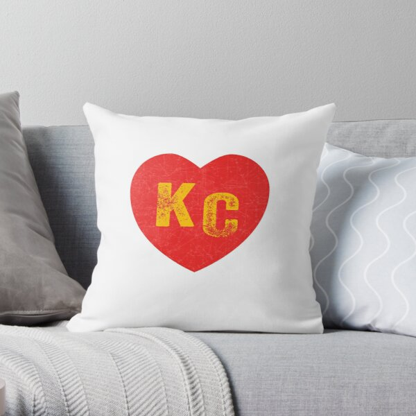 KC Heart Kansas City Hearts I love Kc heart monogram KC Face mask Kansas City facemask Throw Pillow
