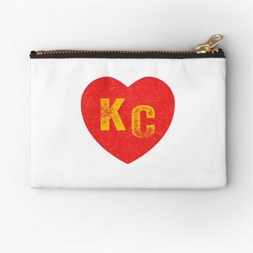 KC Heart Kansas City Hearts I love Kc heart monogram KC Face mask Kansas City facemask Zipper Pouch
