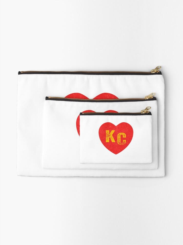 Alternate view of KC Heart Kansas City Hearts I love Kc heart monogram KC Face mask Kansas City facemask Zipper Pouch