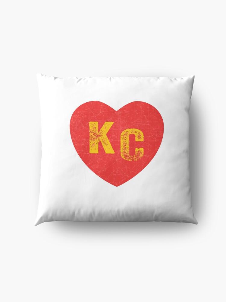 Alternate view of KC Heart Kansas City Hearts I love Kc heart monogram KC Face mask Kansas City facemask Floor Pillow