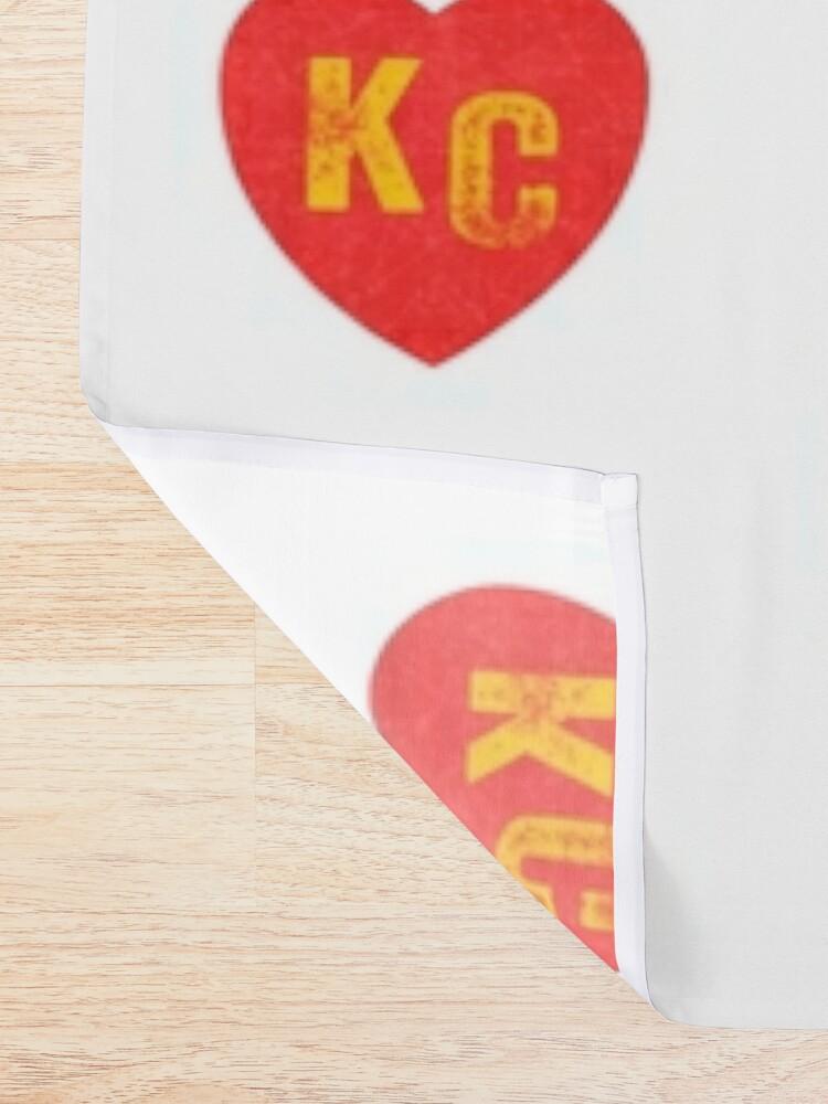 Alternate view of KC Heart Kansas City Hearts I love Kc heart monogram KC Face mask Kansas City facemask Shower Curtain