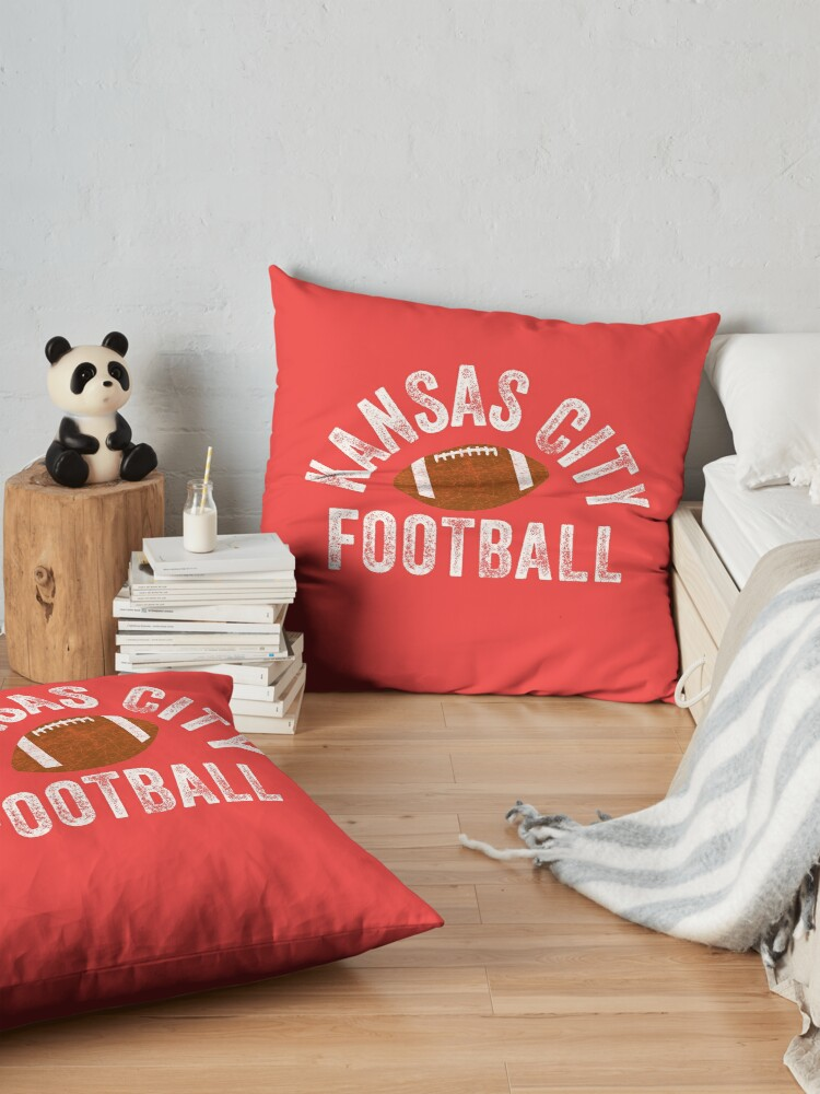 Alternate view of Kansas City Football Tribal KC Vintage football Kc Classic KC Face mask Kansas City facemask Floor Pillow