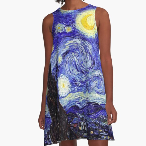 A Starry Night Van Gogh Mountain Inspiration A-Line Dress