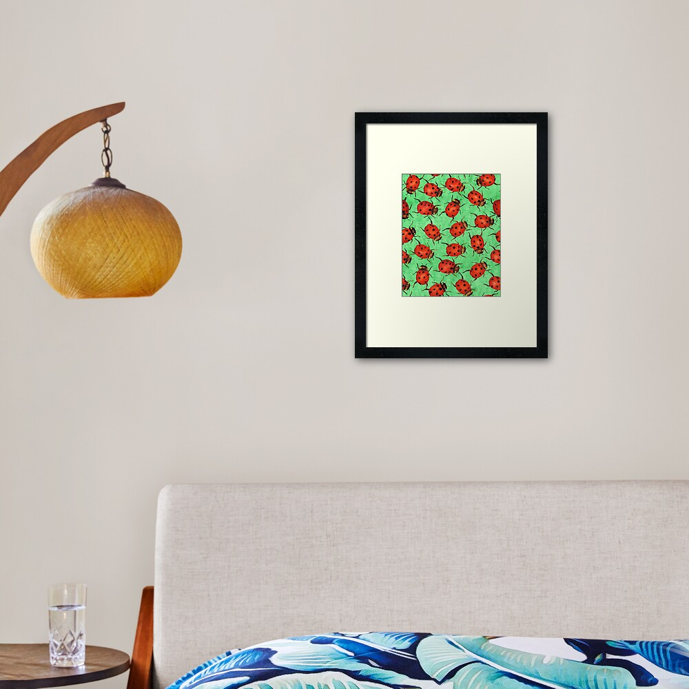 Watercolor Ladybugs Framed Art Print