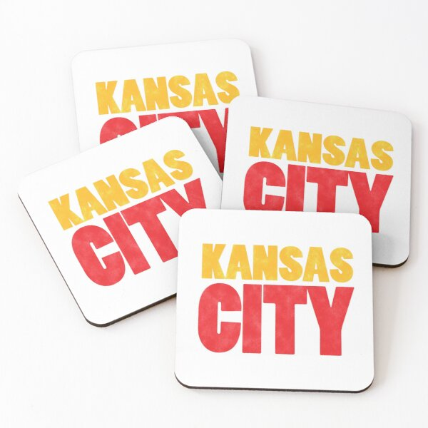 Kansas City Logo Kc Red & Yellow KC Cool Locals Gear KC Face mask Kansas City facemask Coasters (Set of 4)
