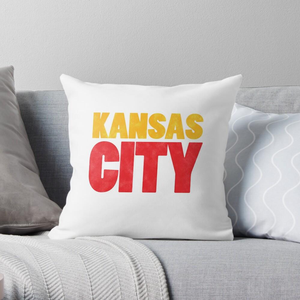 Kansas City Logo Kc Red & Yellow KC Cool Locals Gear KC Face mask Kansas City facemask Throw Pillow