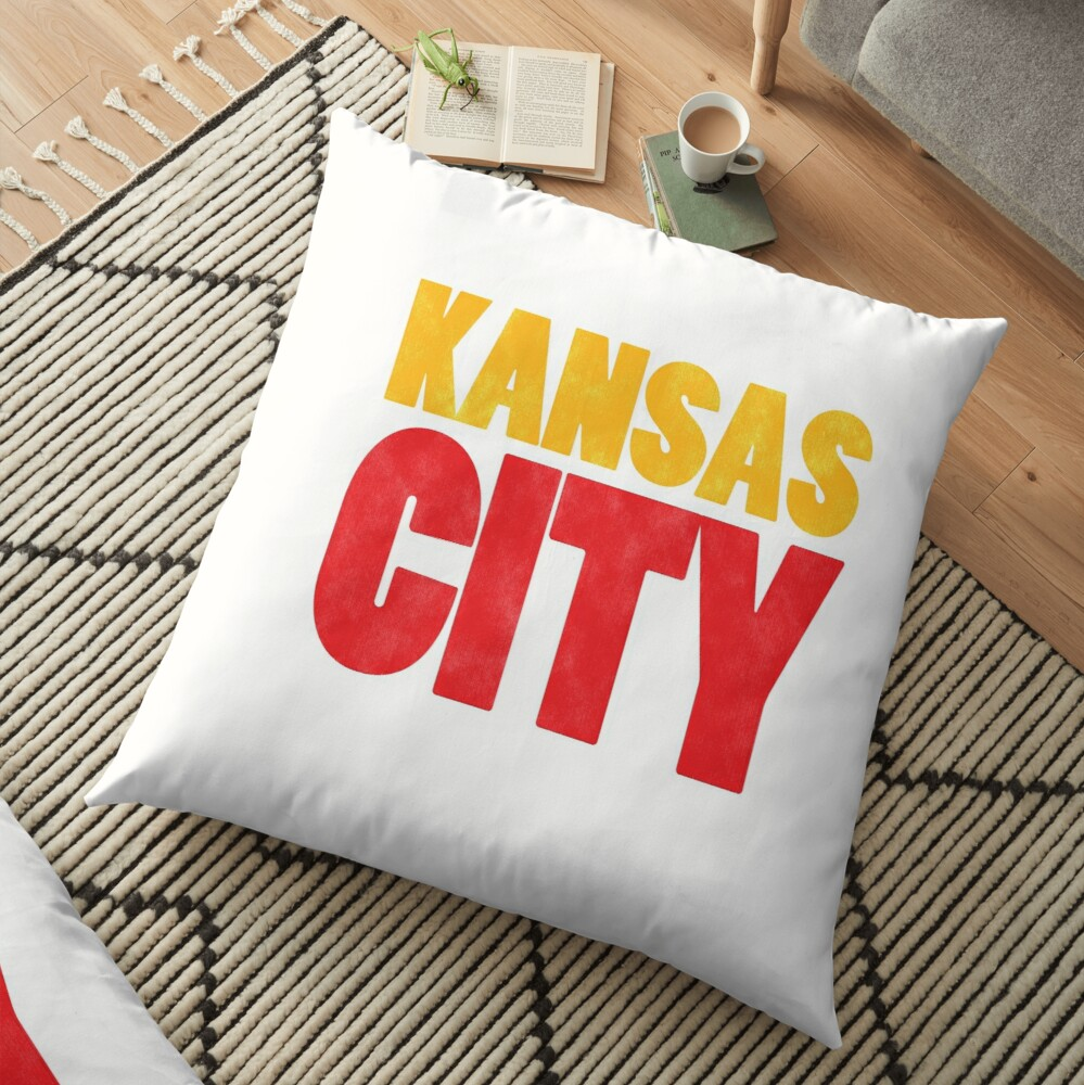 Kansas City Logo Kc Red & Yellow KC Cool Locals Gear KC Face mask Kansas City facemask Floor Pillow