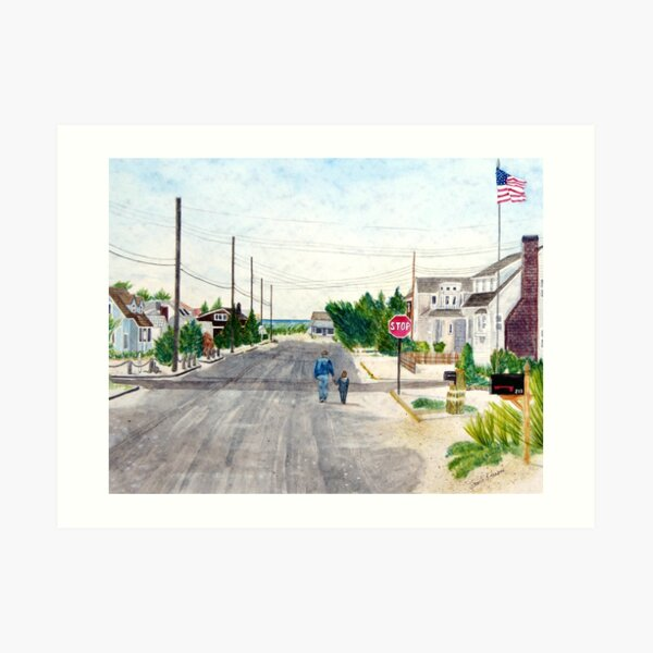 A Walk with Grandpop, Long Beach Island, New Jersey. Sweet watercolor painting of a grandfather and grandson out walking on the Jersey Shore. Art Print