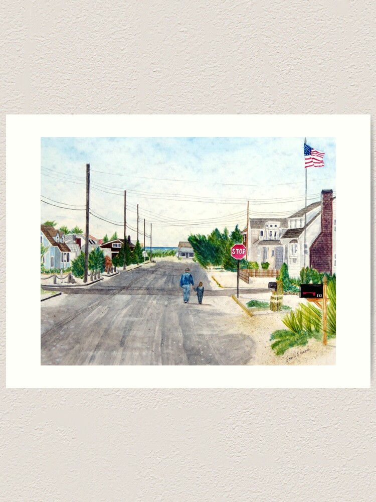 Alternate view of A Walk with Grandpop, Long Beach Island, New Jersey. Sweet watercolor painting of a grandfather and grandson out walking on the Jersey Shore. Art Print