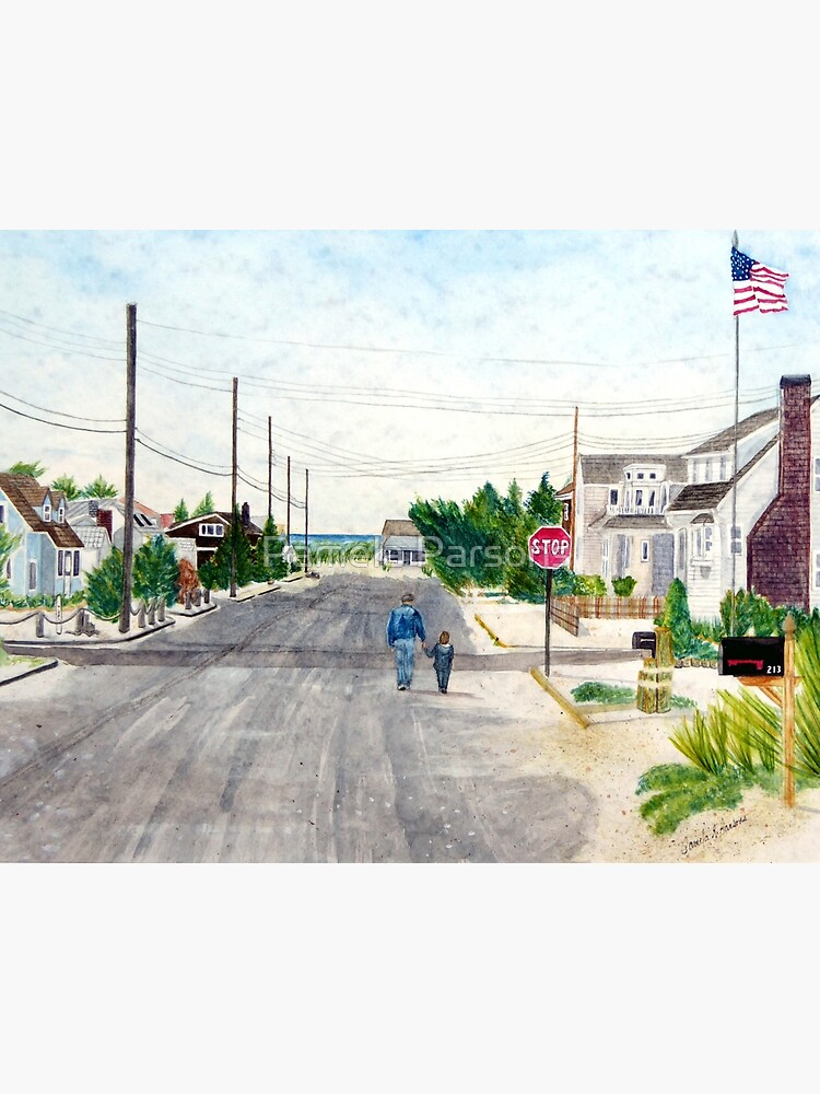 A Walk with Grandpop, Long Beach Island, New Jersey. Sweet watercolor painting of a grandfather and grandson out walking on the Jersey Shore. by parsonsp