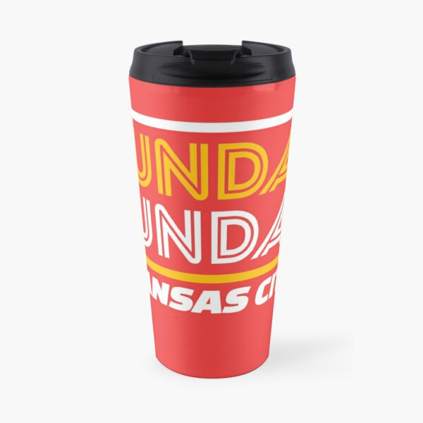 Sunday Funday Kansas City KC Red & Yellow Kingdom Kc Gear KC Face mask Kansas City facemask Travel Mug