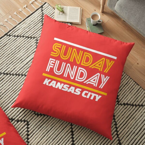 Sunday Funday Kansas City KC Red & Yellow Kingdom Kc Gear KC Face mask Kansas City facemask Floor Pillow