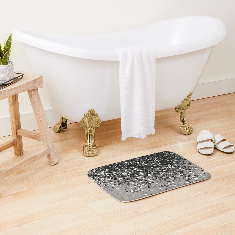 Silver Gray Glitter #1 #shiny #decor #art Bath Mat