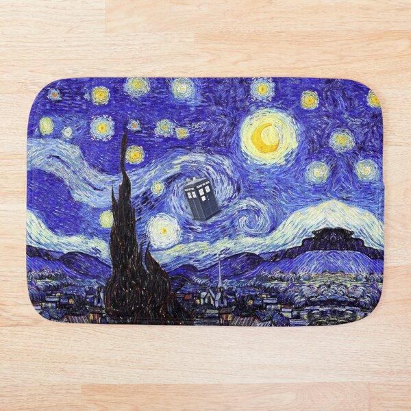 A Starry Night Van Gogh Mountain Inspiration With Tardis Bath Mat