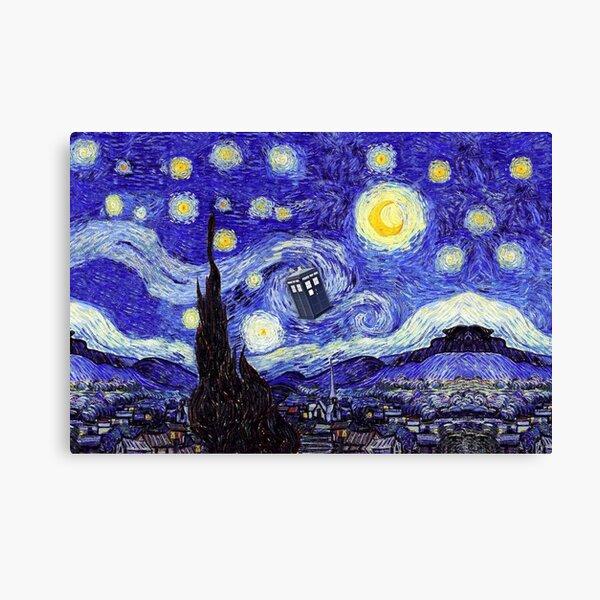 A Starry Night Van Gogh Mountain Inspiration With Tardis Canvas Print