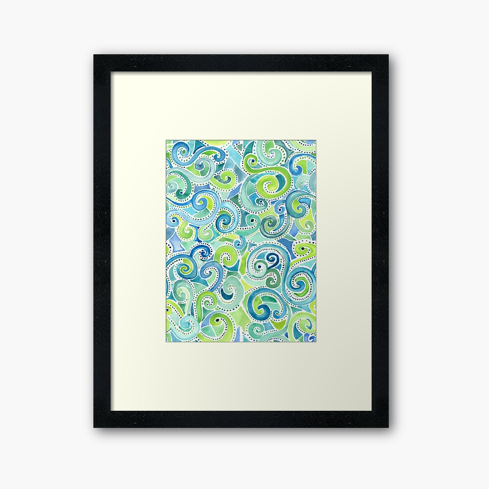 Swirly Spiral Watercolor Framed Art Print