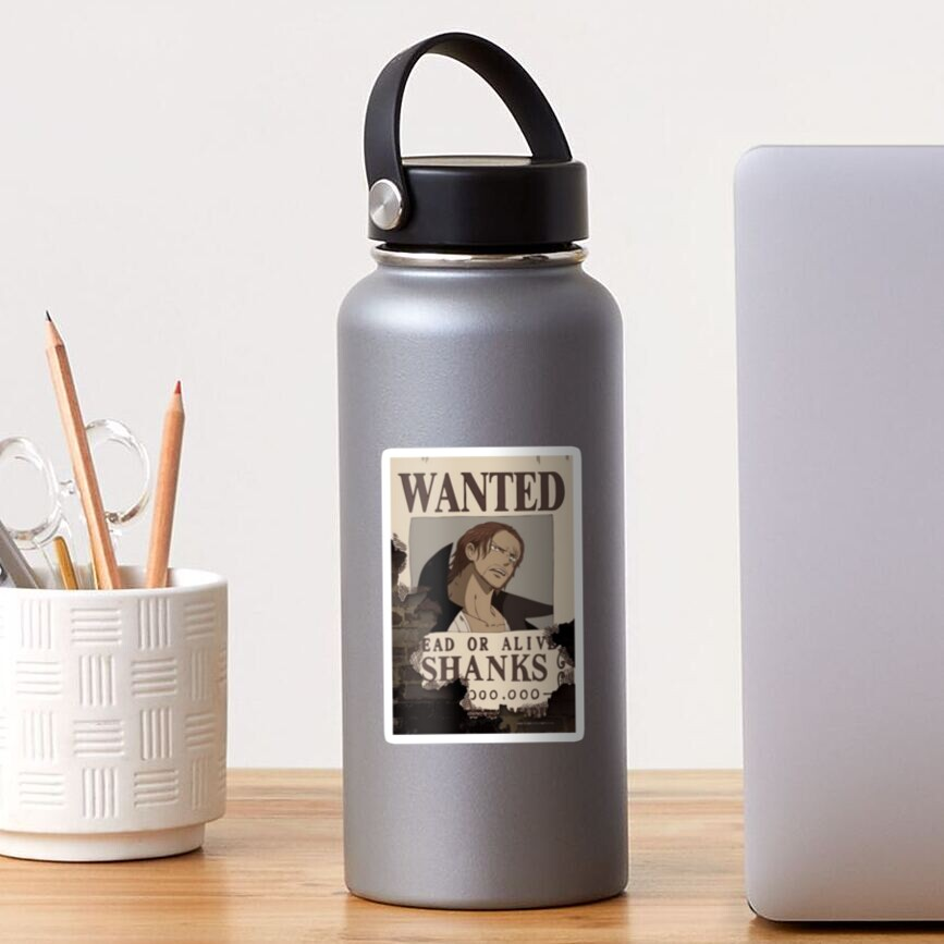 shanks wanted poster sticker by dumontbast redbubble