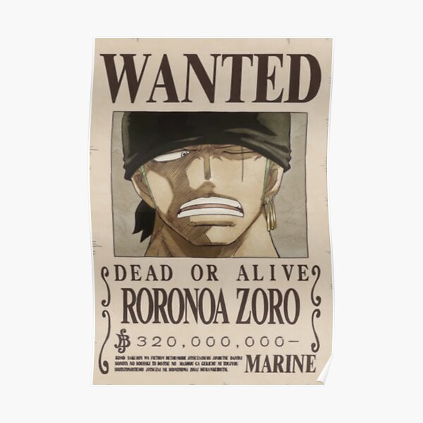 Zoro second wanted poster Poster