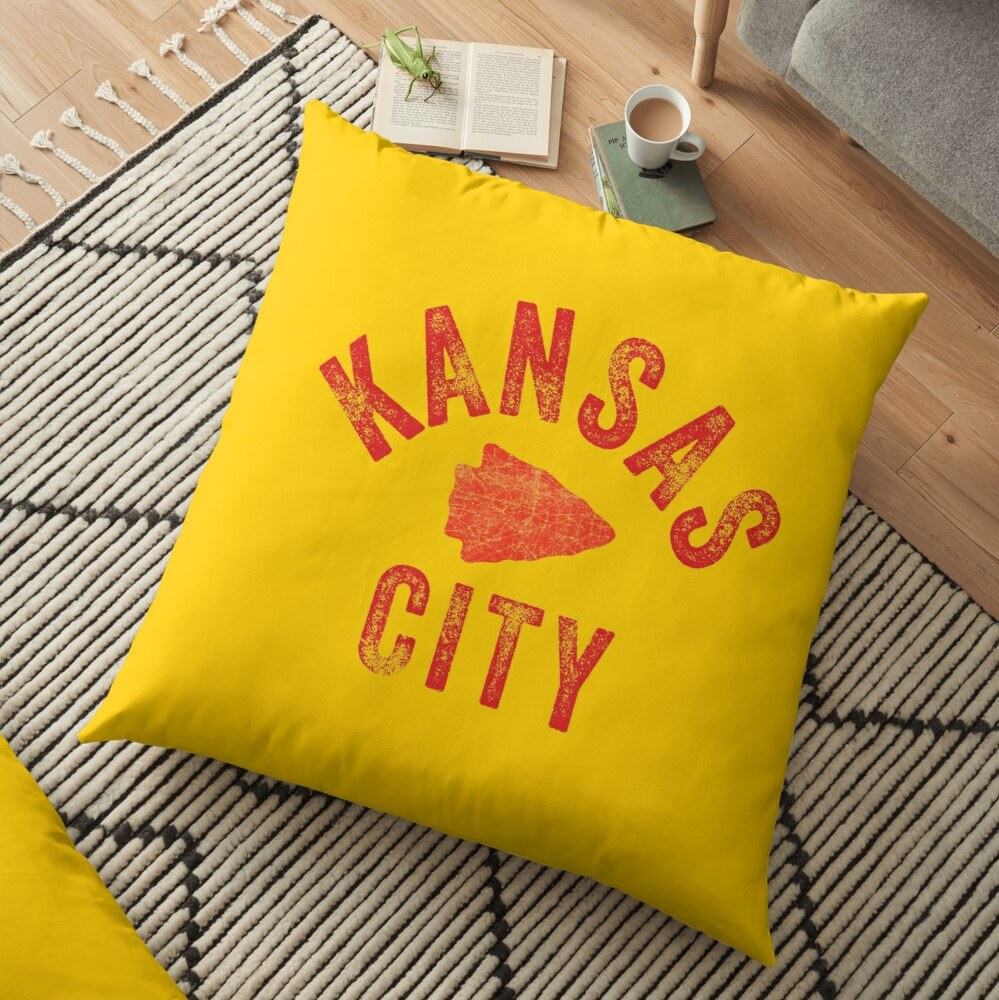 KC Face mask Kansas City facemask Classic Kansas City Football KC Yellow & Red Kingdom Football Kc Gear Floor Pillow