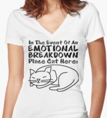 Emotional Breakdown Place Cat Here Women's Fitted V-Neck T-Shirt