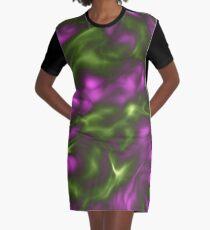 Violet Green Liquid Graphic T-Shirt Dress
