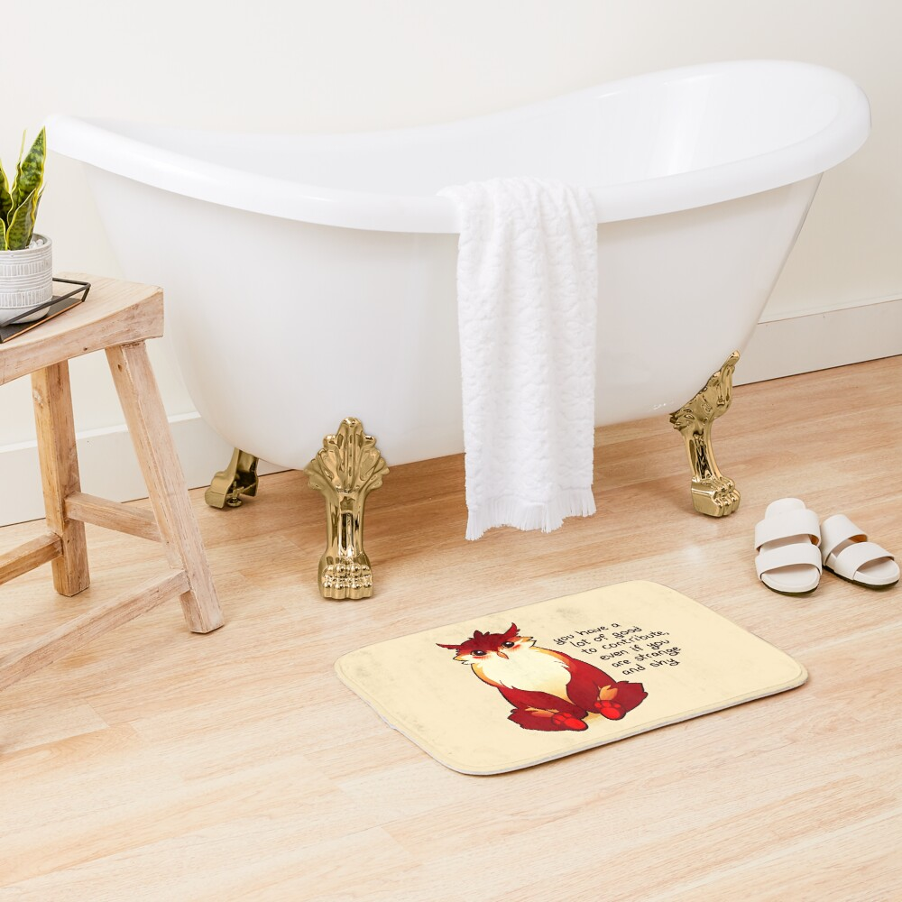 """""""You Have a Lot of Good to Contribute"""" Blushing Owlbear Bath Mat"""