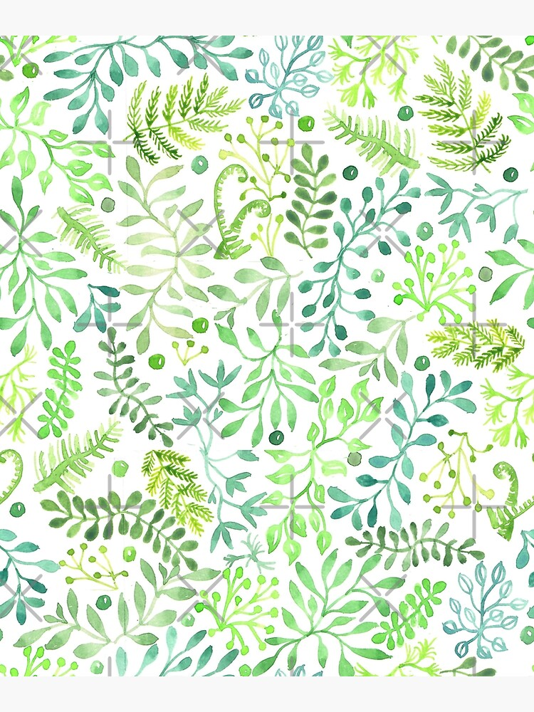 Watercolor Green Leaves and Foliage by creativinchi