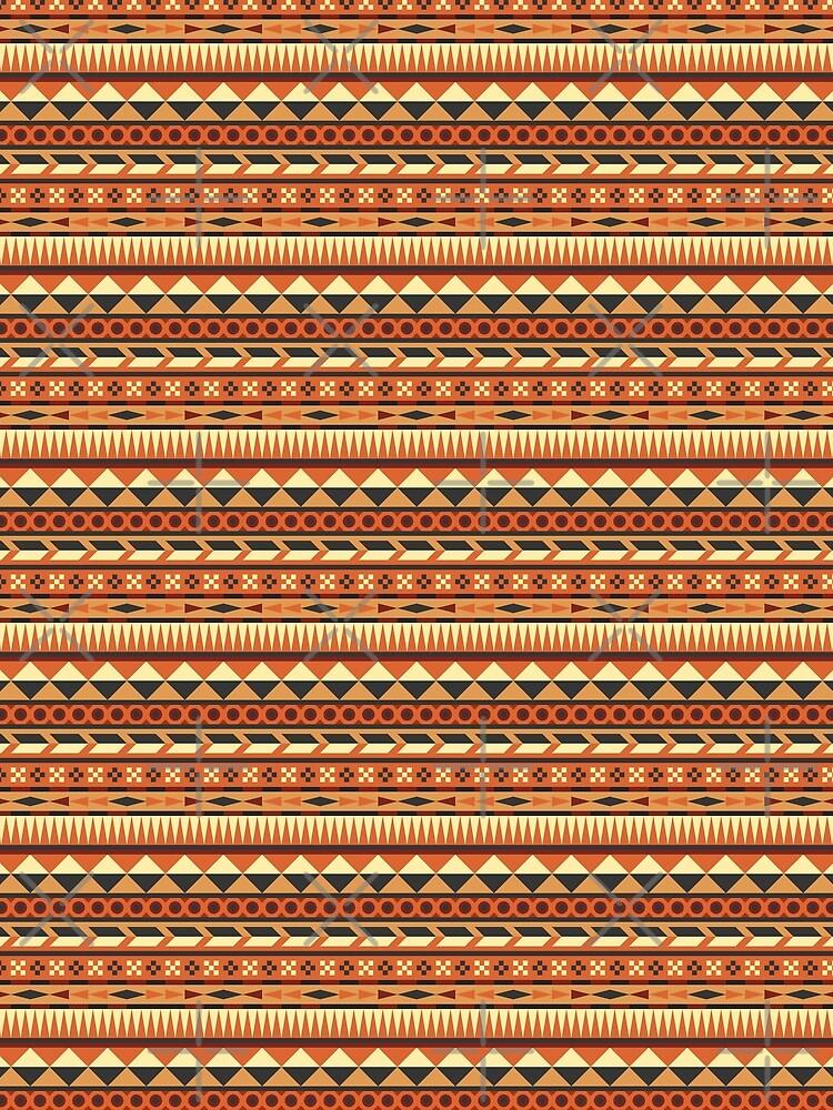 Aztec Pattern in Orange, Red, Brown, Grey, Yellow by ramiro