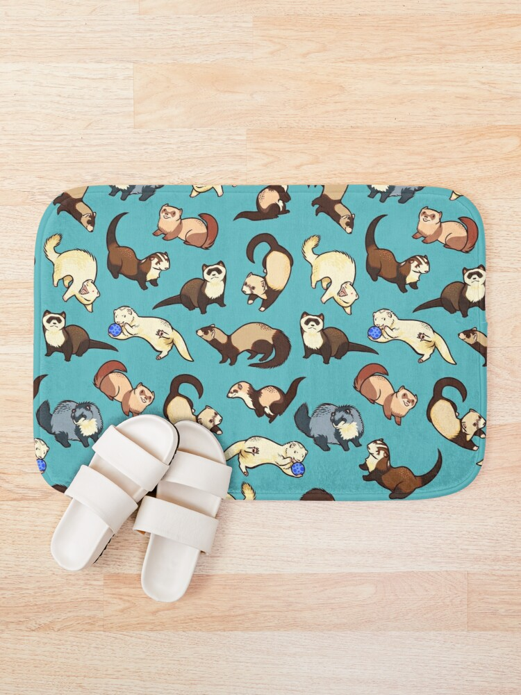 Alternate view of cat snakes in blue Bath Mat