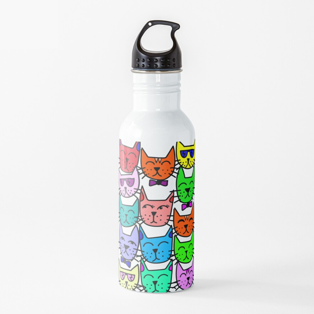 Colorful Rainbow Cats Water Bottle