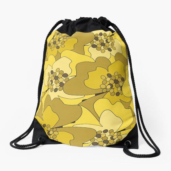Yellow Ochre Passion Flowers Drawstring Bag