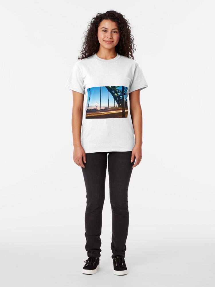 Alternate view of Tyne Bridge Light Trails, Newcastle Classic T-Shirt