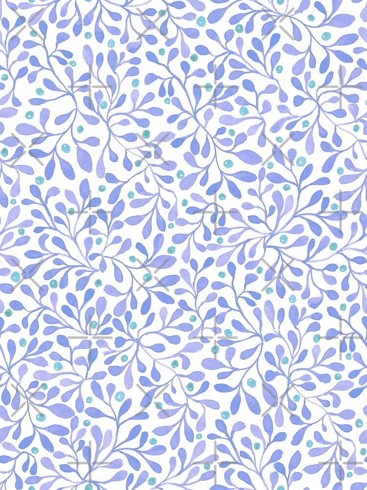 Blue Leafy Magic Watercolor by creativinchi