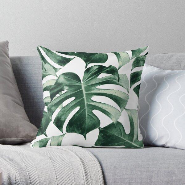 Tropical Monstera Leaves Dream #2 #tropical #decor #art  Throw Pillow