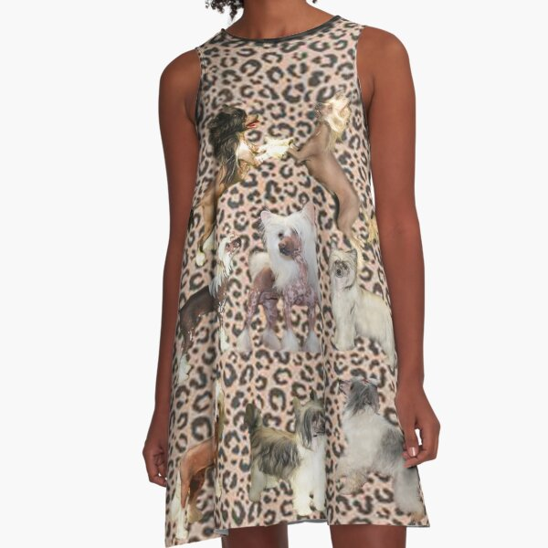 Kleider  und Maske im Leo Design mit Chinese Crested Dogs A-Linien Kleid