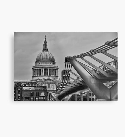 St Paul's Cathedral and Millennium Bridge Metal Print
