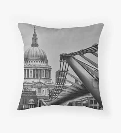St Paul's Cathedral and Millennium Bridge Throw Pillow