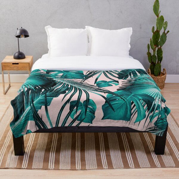 Tropical Jungle Leaves Dream #10 #tropical #decor #art Throw Blanket