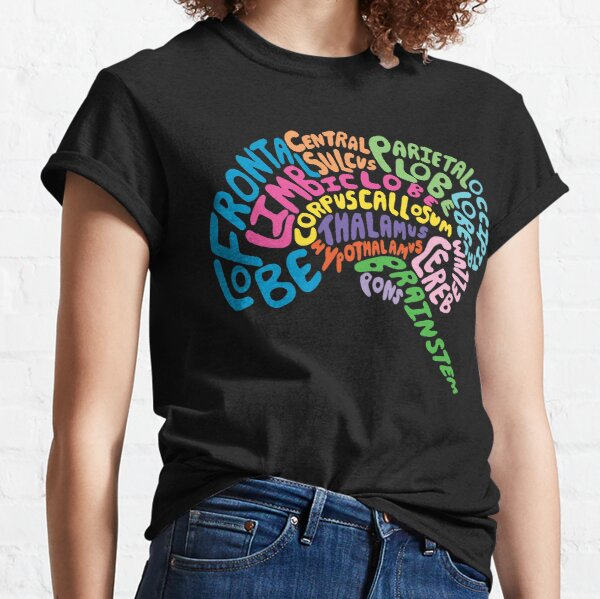 Human Brain Anatomy using Typography Classic T-Shirt