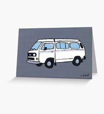 White VW Camper Greeting Card
