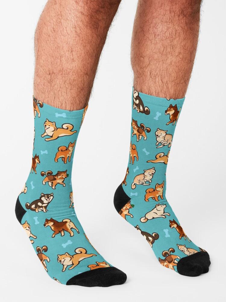 Alternate view of shibes in blue Socks