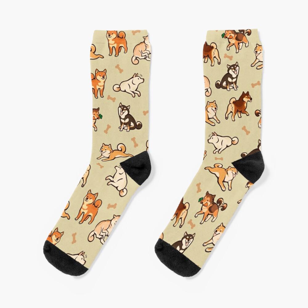 shibes in cream Socks