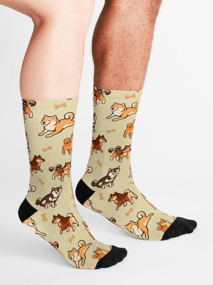 Alternate view of shibes in cream Socks
