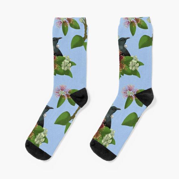 Tui in Pohutukawa Socks