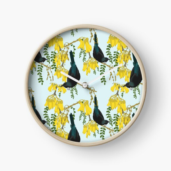 Tuis in the Kowhai Flowers Clock