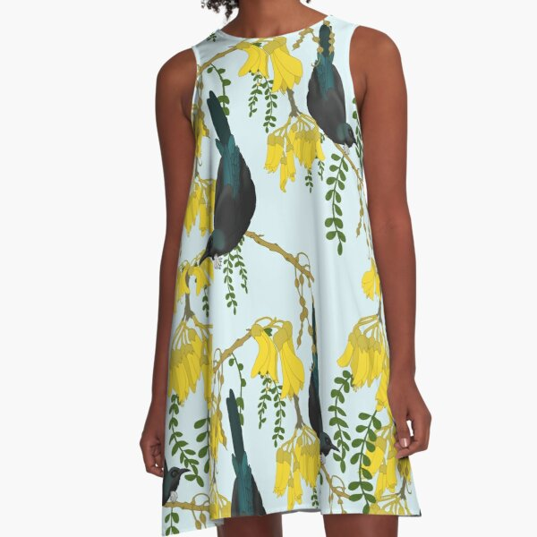 Tuis in the Kowhai Flowers A-Line Dress
