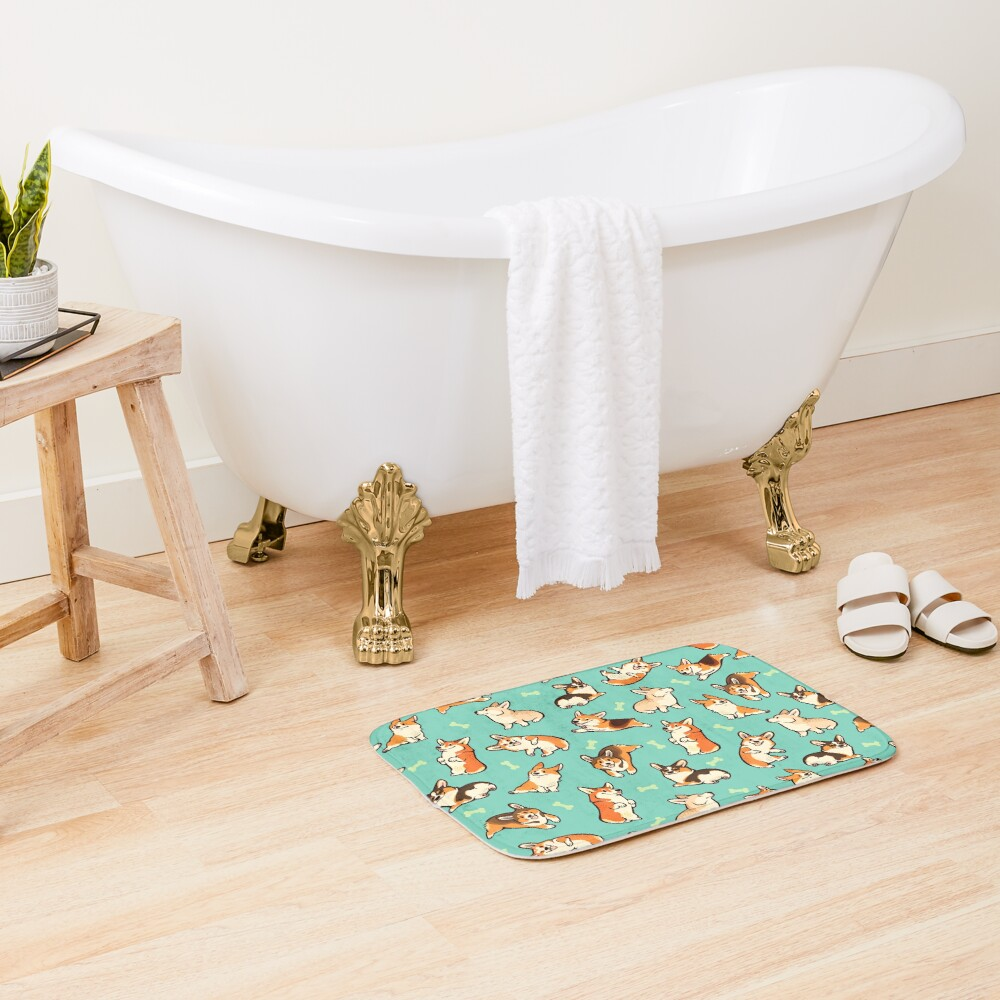 Jolly corgis in green Bath Mat